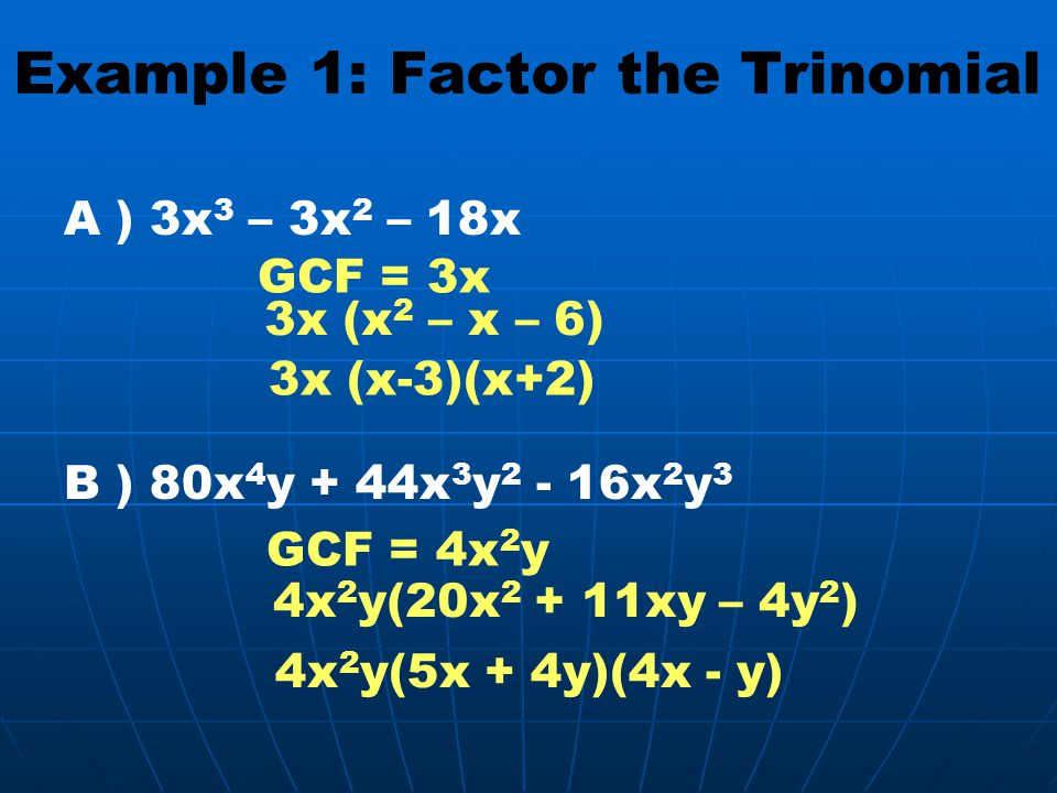Example 1: Factor the Trinomial