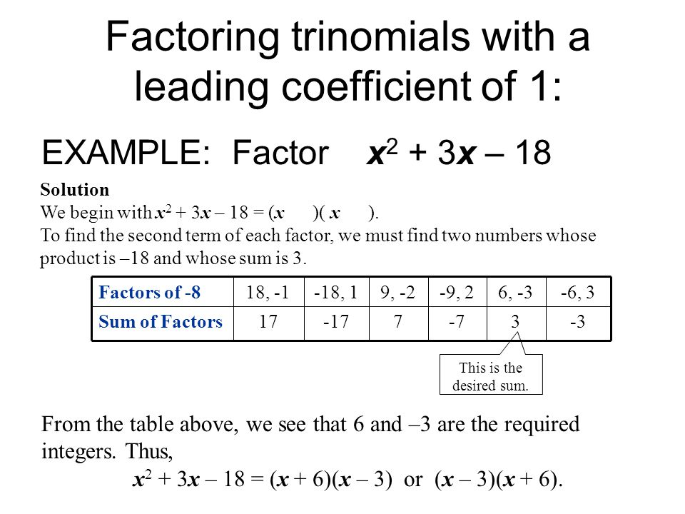 Factoring trinomials with a leading coefficient of 1: