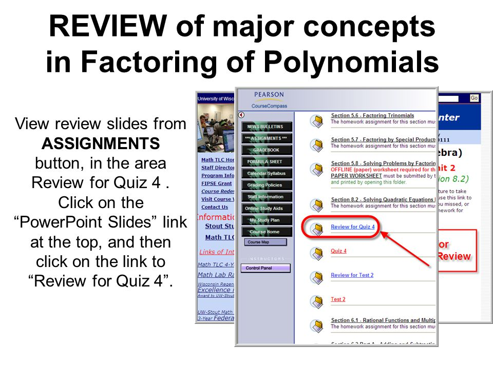REVIEW of major concepts in Factoring of Polynomials
