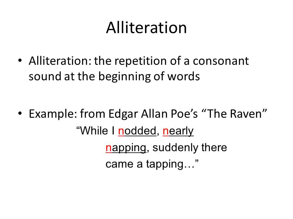 Alliteration, assonance and consonance explained for primary.