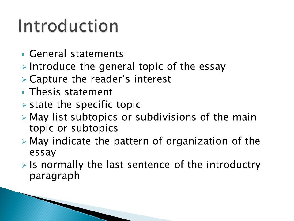 Introduction General statements