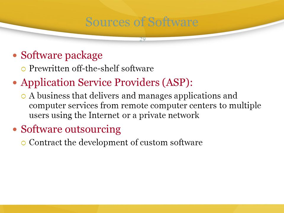 Sources of Software Software package