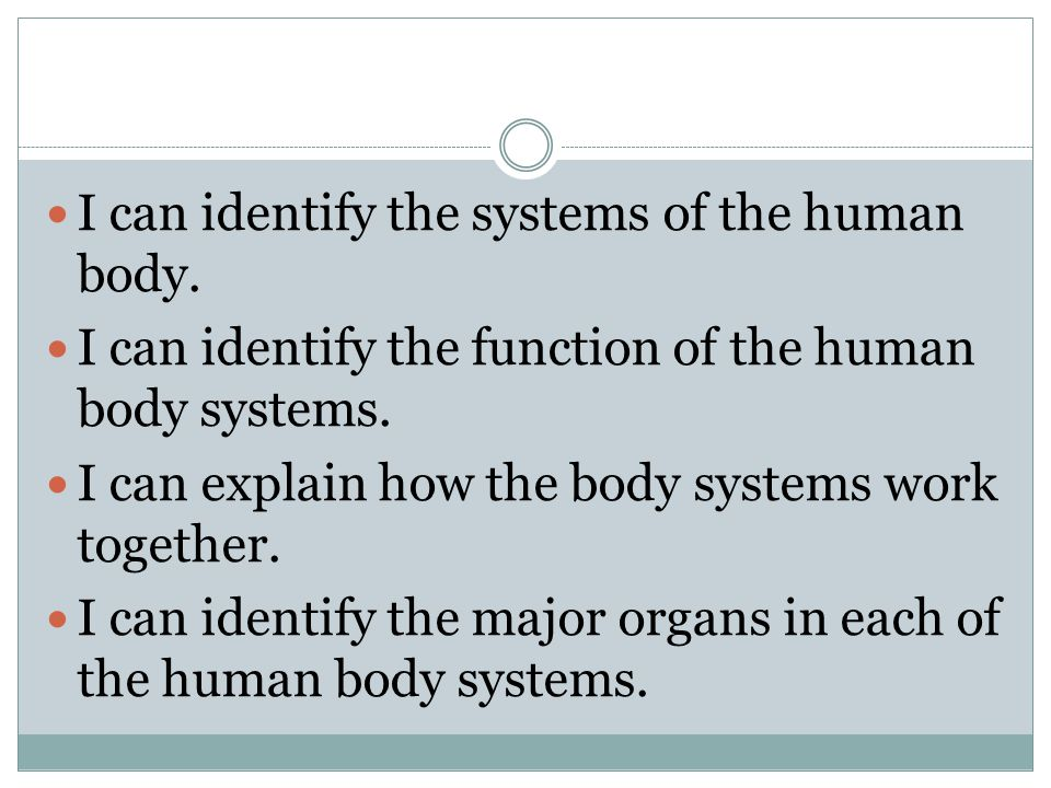 I can identify the systems of the human body.