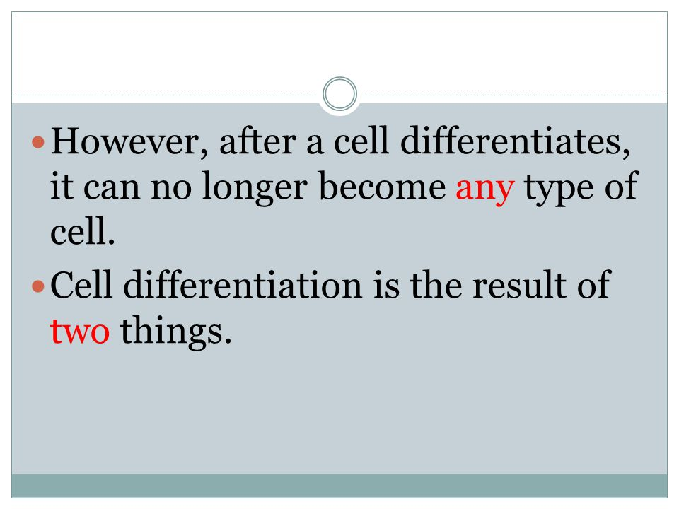 However, after a cell differentiates, it can no longer become any type of cell.