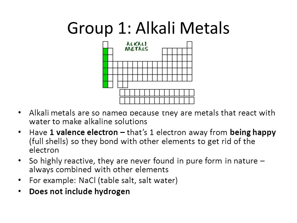 Tour of the periodic table ppt download group 1 alkali metals alkali metals are so named because they are metals that react urtaz Choice Image