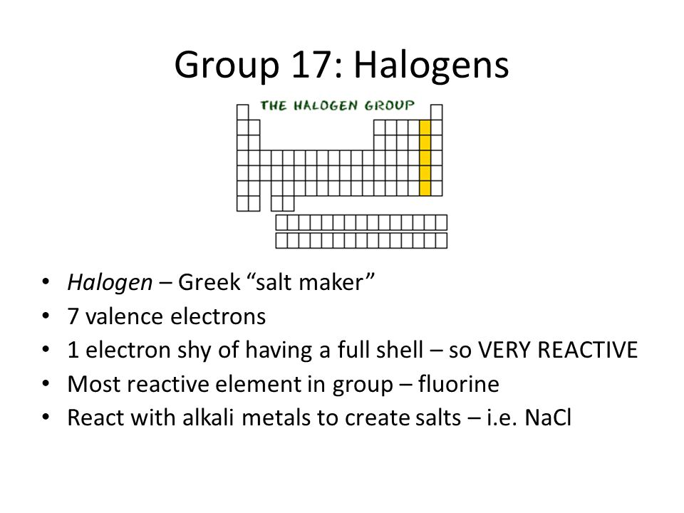 Tour of the periodic table ppt download group 17 halogens halogen greek salt maker 7 valence electrons urtaz Image collections