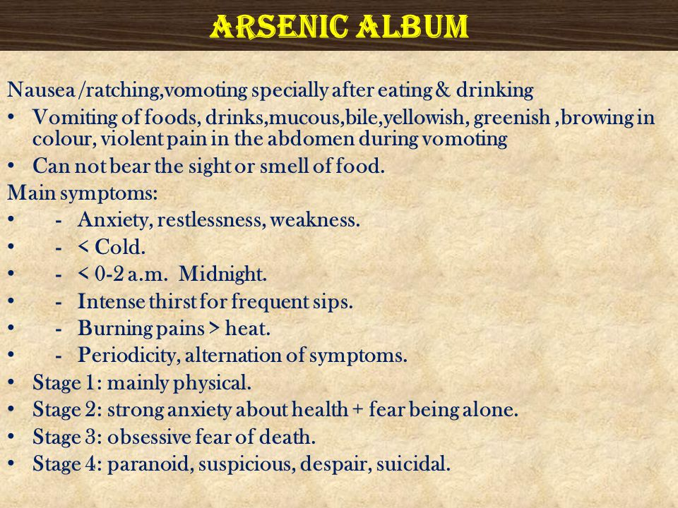 Arsenic album Nausea /ratching,vomoting specially after eating & drinking.