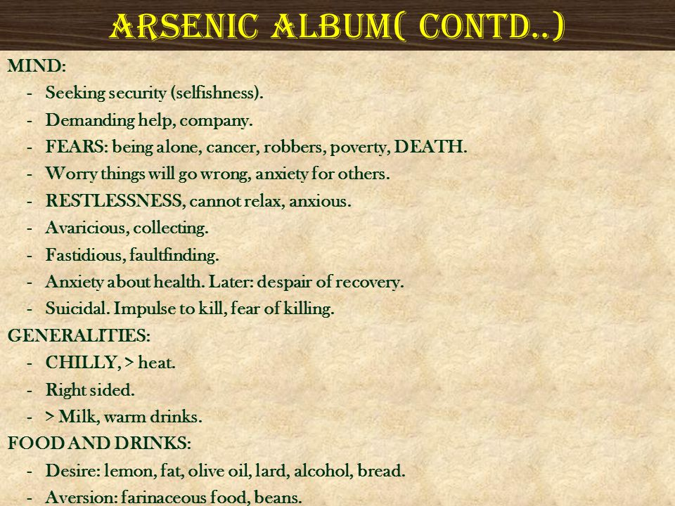 Arsenic album( contd..)