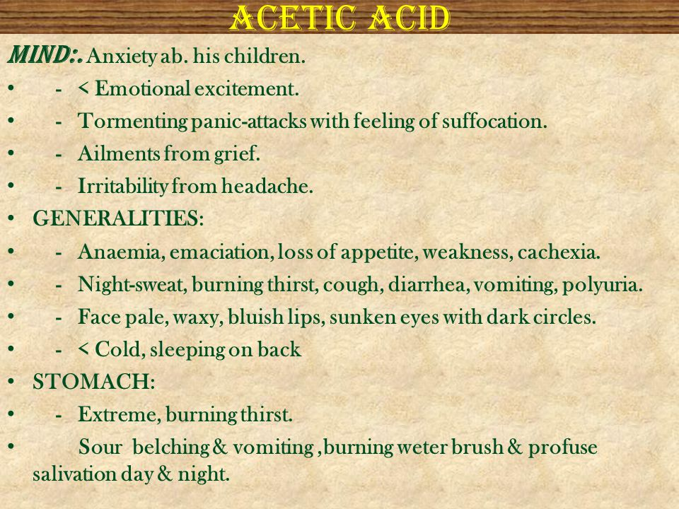 Acetic acid MIND:. Anxiety ab. his children.