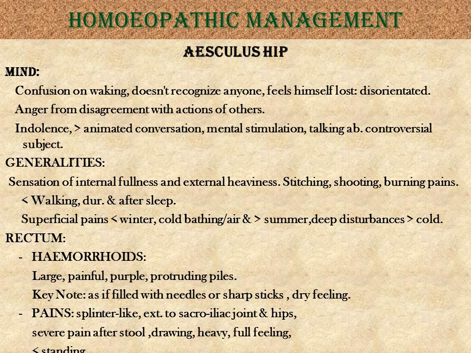 Homoeopathic management