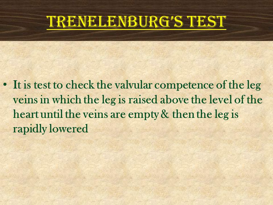 TRENELENBURG'S TEST