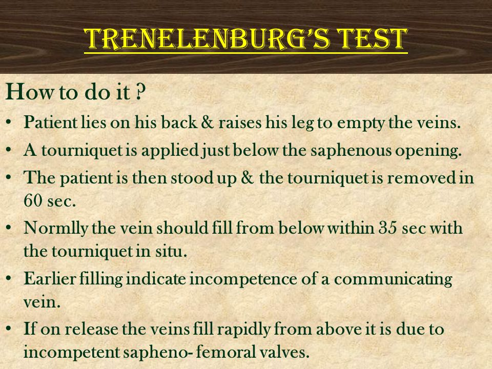 TRENELENBURG'S TEST How to do it