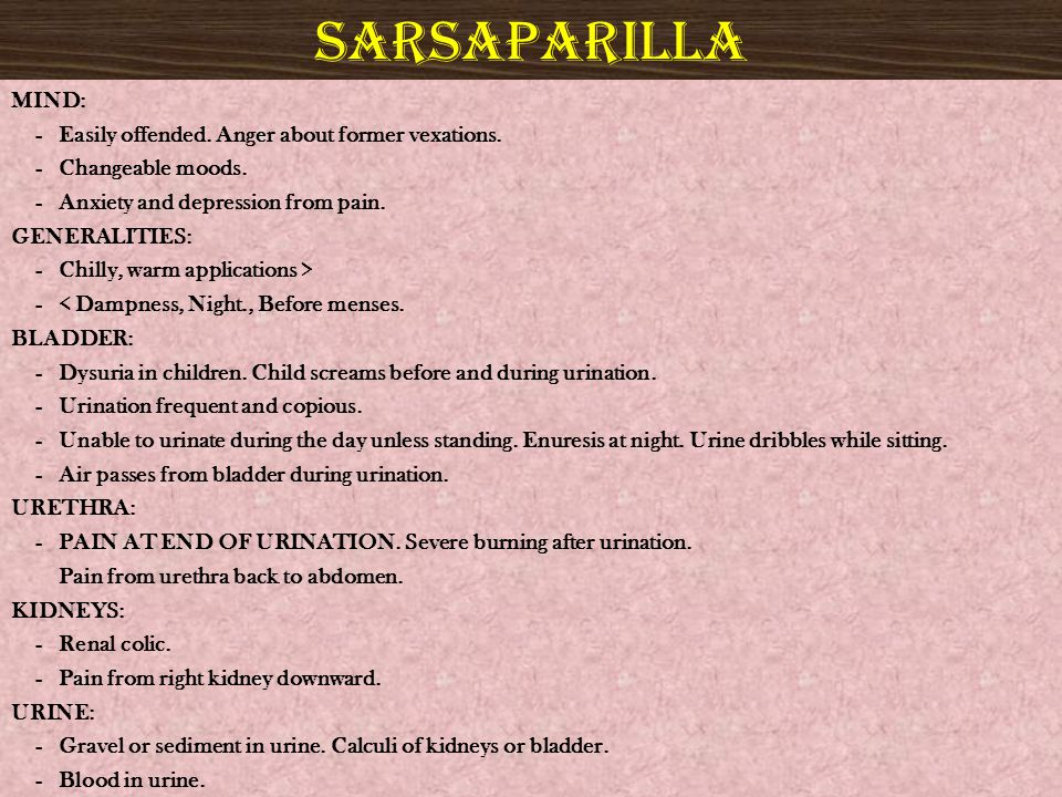 sarsaparilla MIND: - Easily offended. Anger about former vexations.