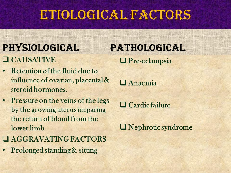 ETIOLOGICAL FACTORS PHYSIOLOGICAL PATHOLOGICAL CAUSATIVE Pre-eclampsia
