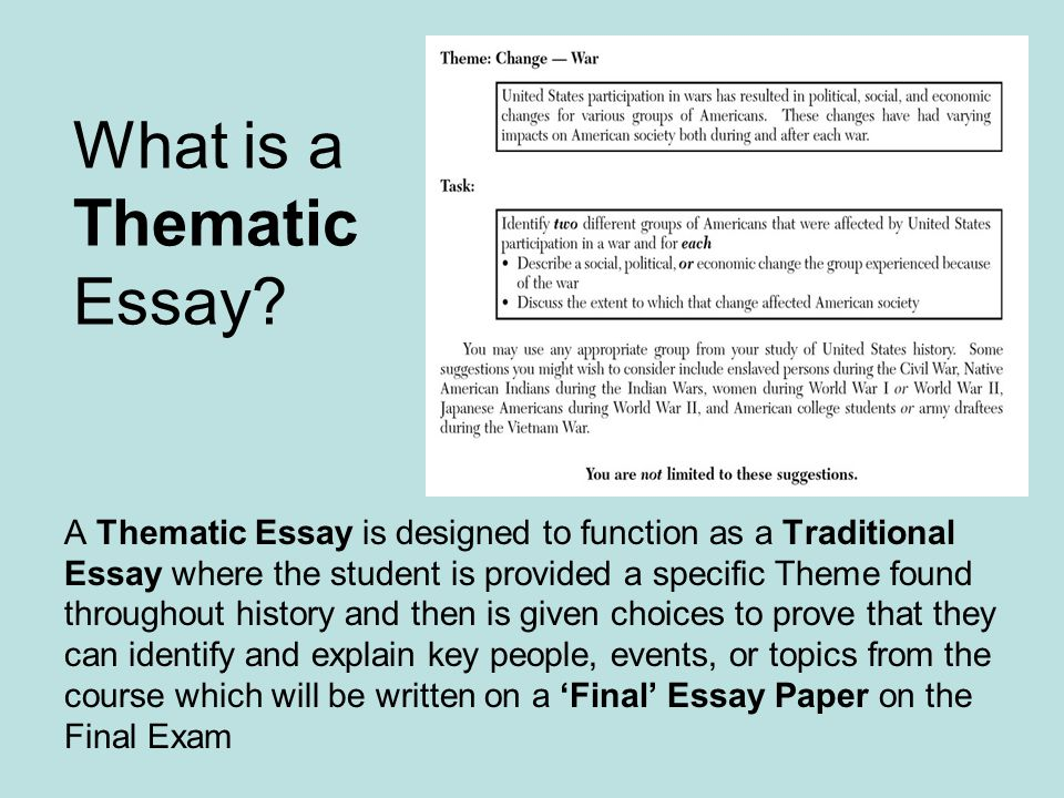 How to guide for thematic essays ppt download