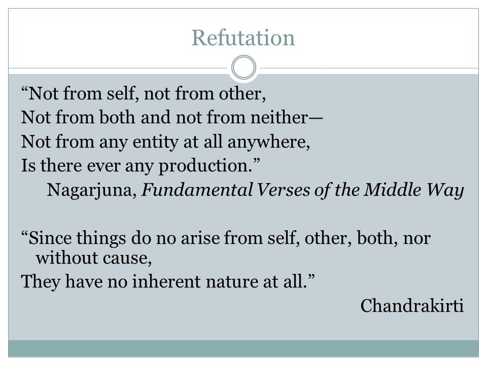 Refutation Not from self, not from other,