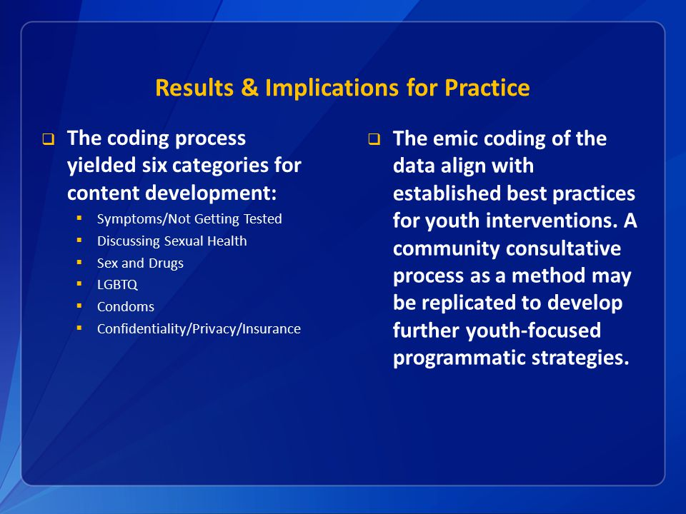 Results & Implications for Practice