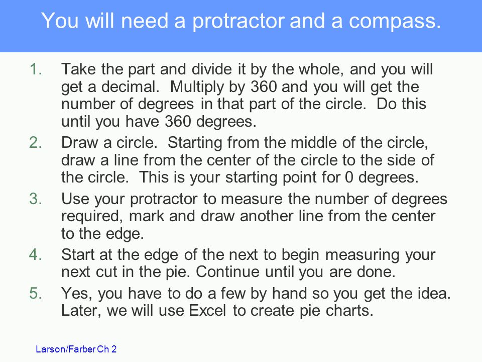 You will need a protractor and a compass.