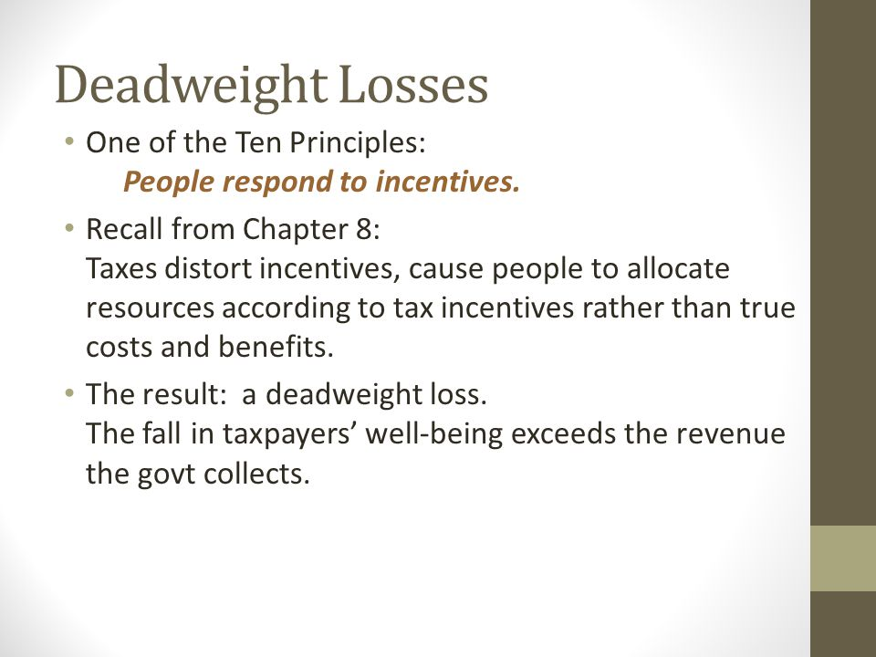 Deadweight Losses One of the Ten Principles: People respond to incentives.