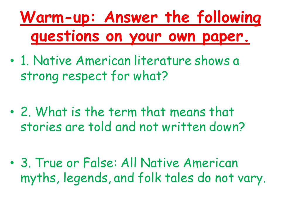 Warm-up: Answer the following questions on your own paper  1  Native