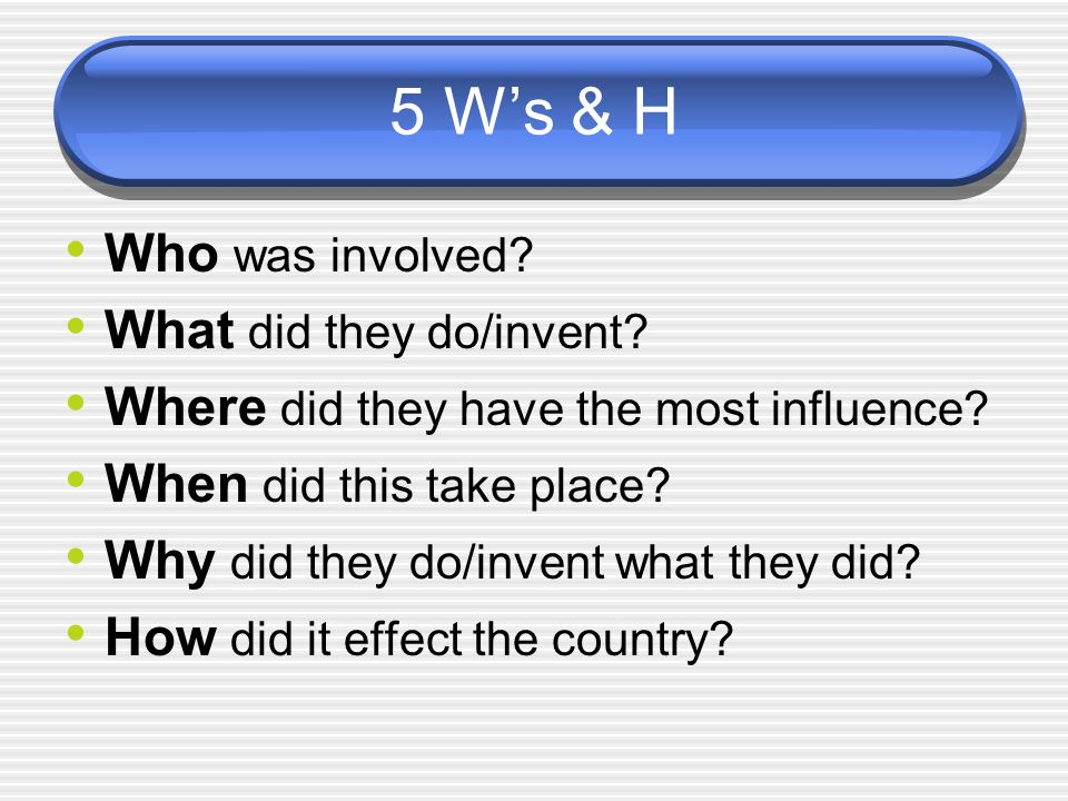5 W's & H Who was involved What did they do/invent