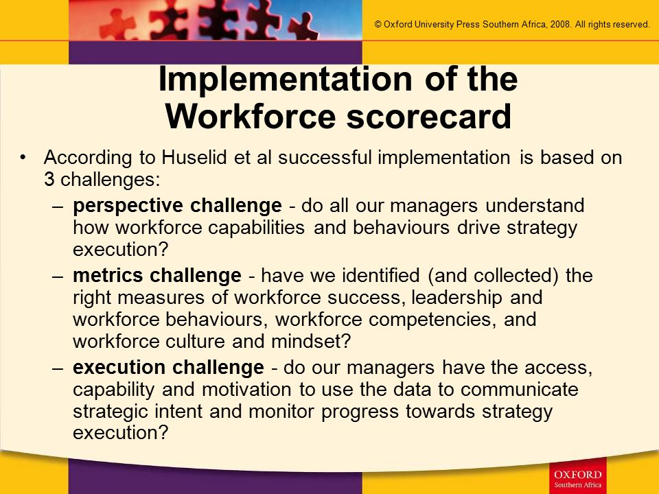 Implementation of the Workforce scorecard