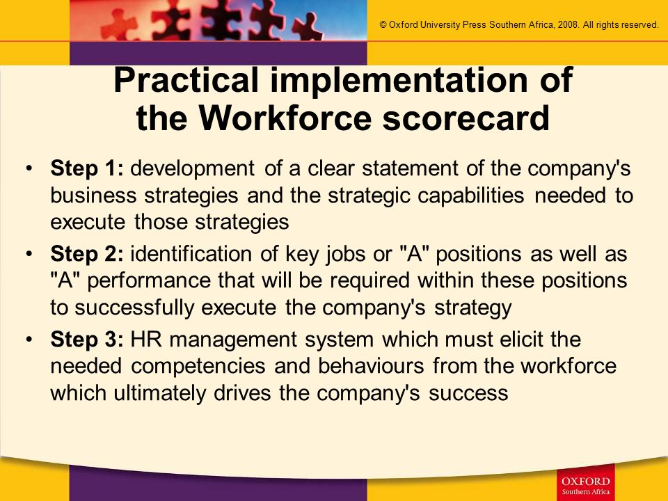 Practical implementation of the Workforce scorecard