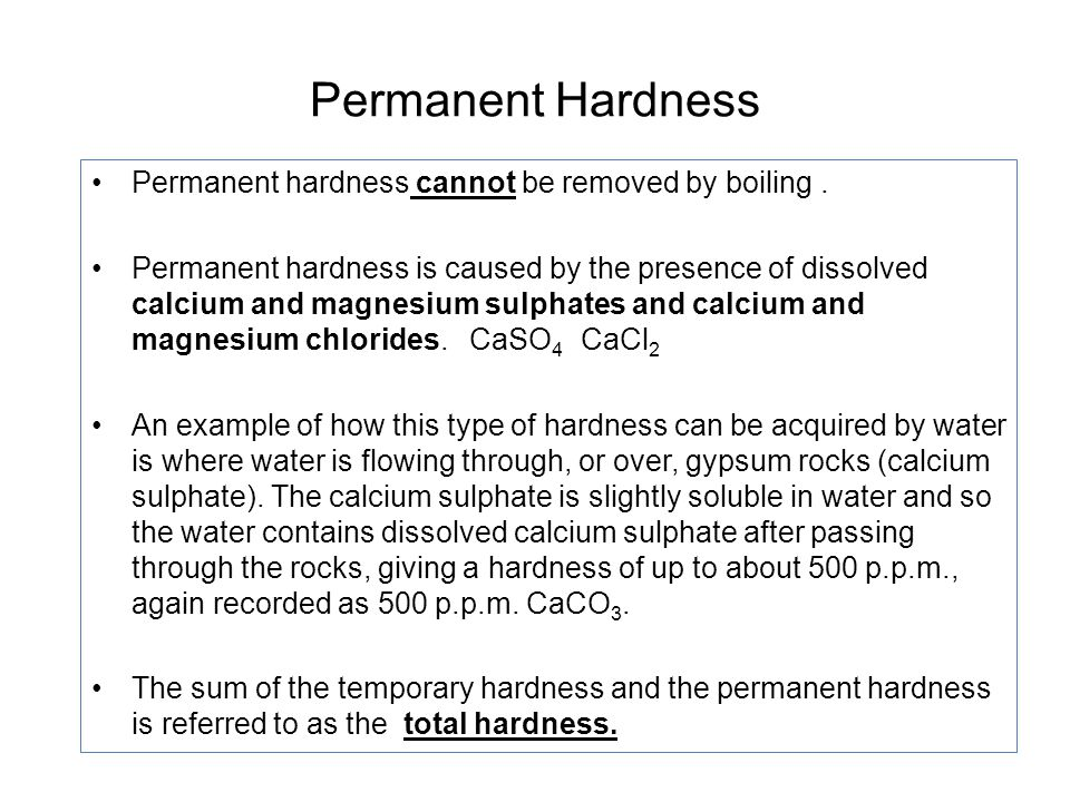 permanent hardness of water is due to