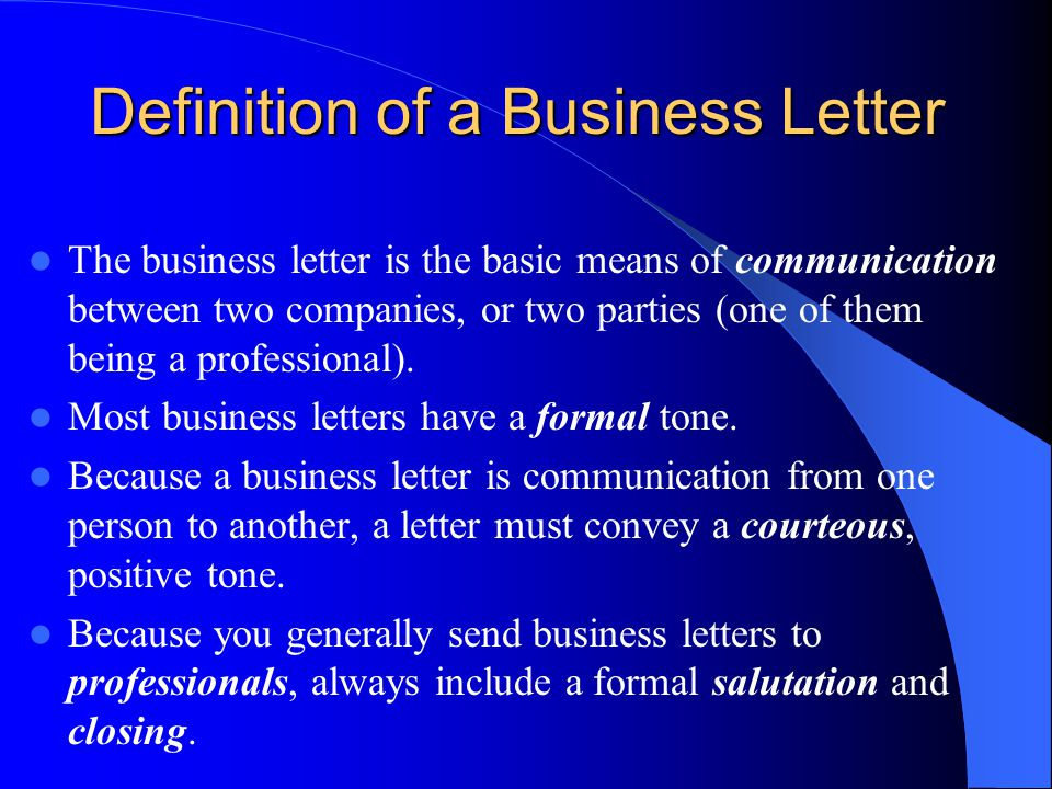 business letter definition how to write a business letter ppt 44474