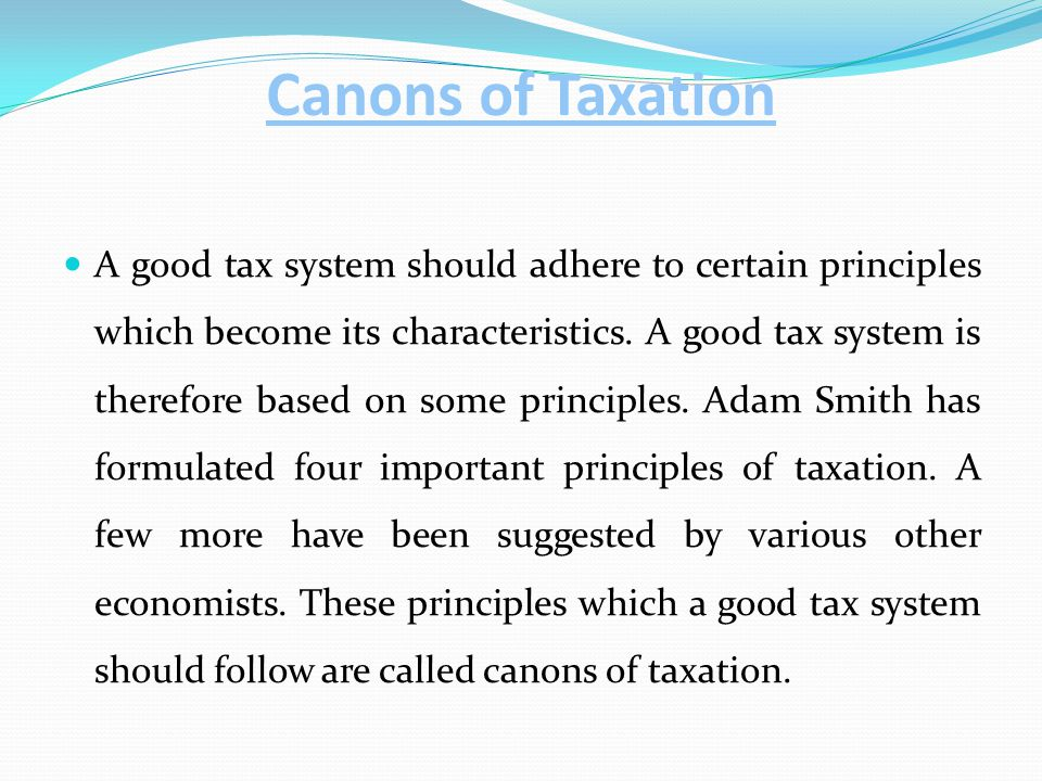 what are the canons of taxation
