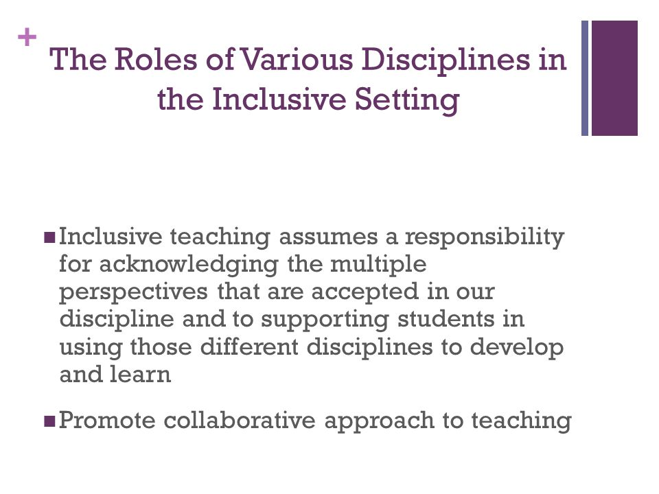 The Roles of Various Disciplines in the Inclusive Setting
