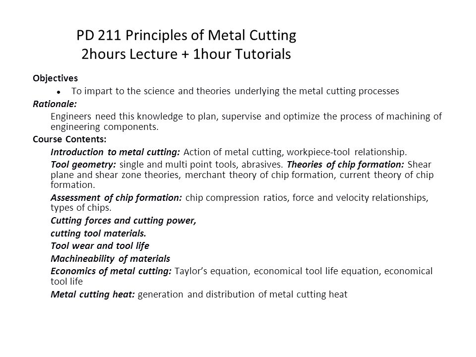 PD 211 Principles of Metal Cutting - ppt download