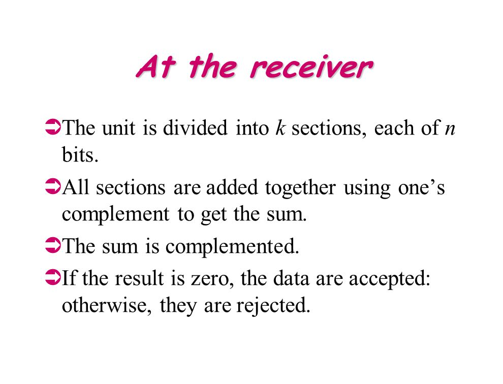 At the receiver The unit is divided into k sections, each of n bits.
