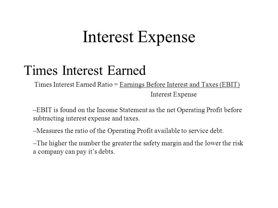 Interest Expense Times Interest Earned