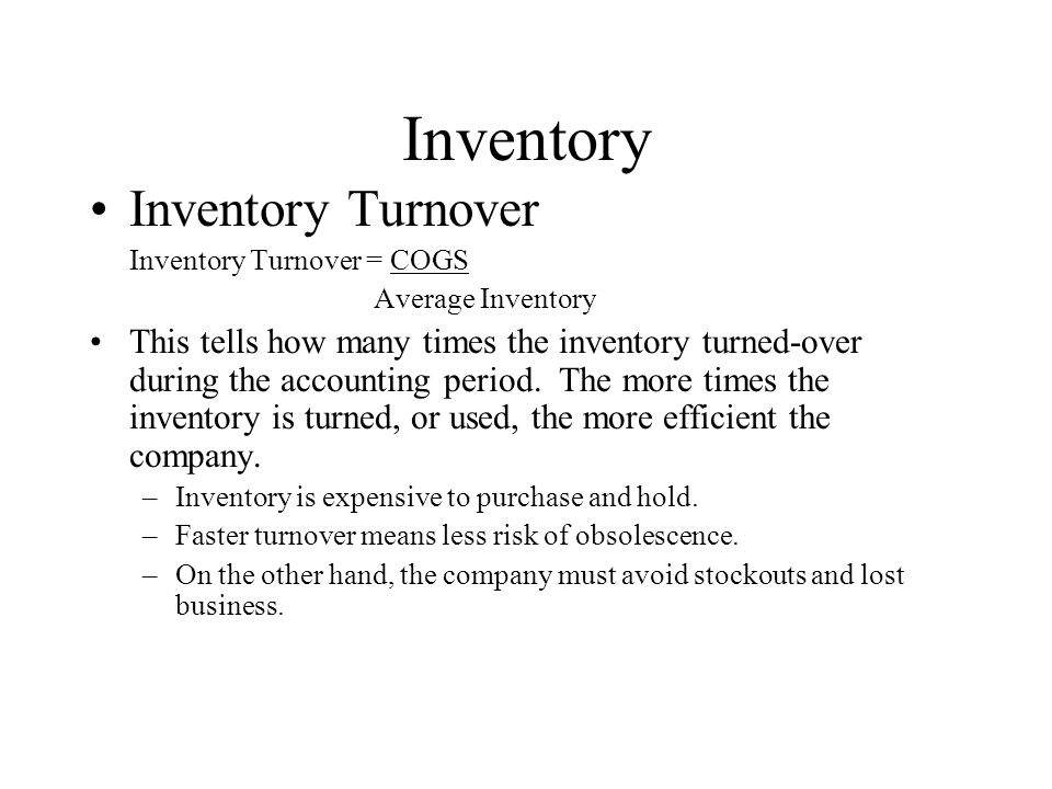Inventory Inventory Turnover