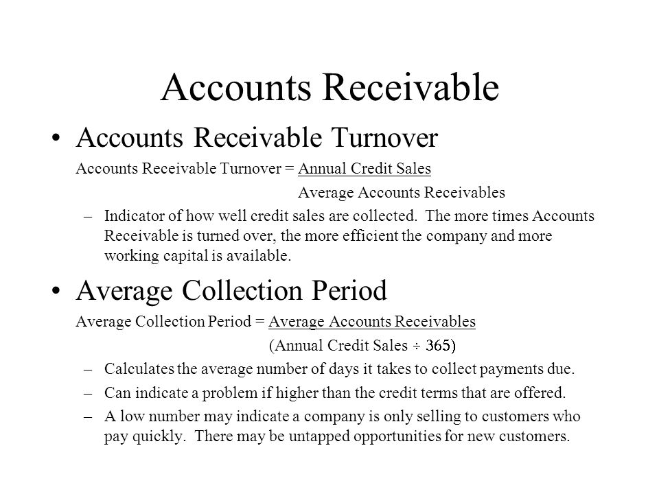 Accounts Receivable Accounts Receivable Turnover