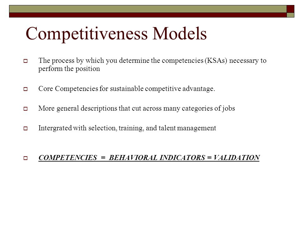 Competitiveness Models