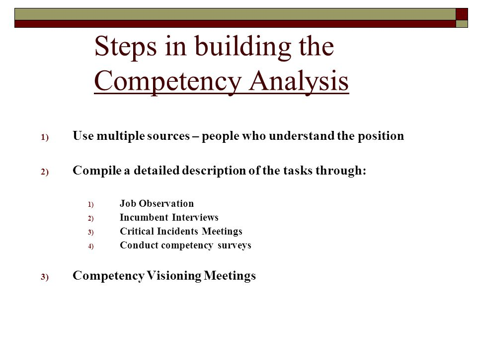 Steps in building the Competency Analysis