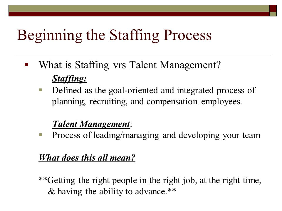 Beginning the Staffing Process