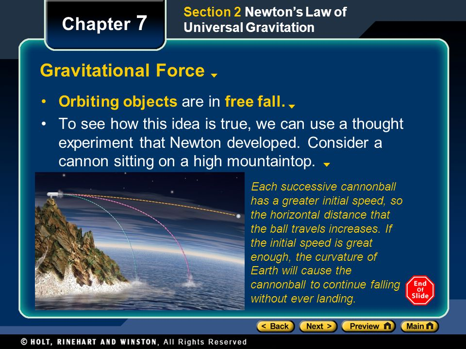 Chapter 7 Gravitational Force Orbiting objects are in free fall.