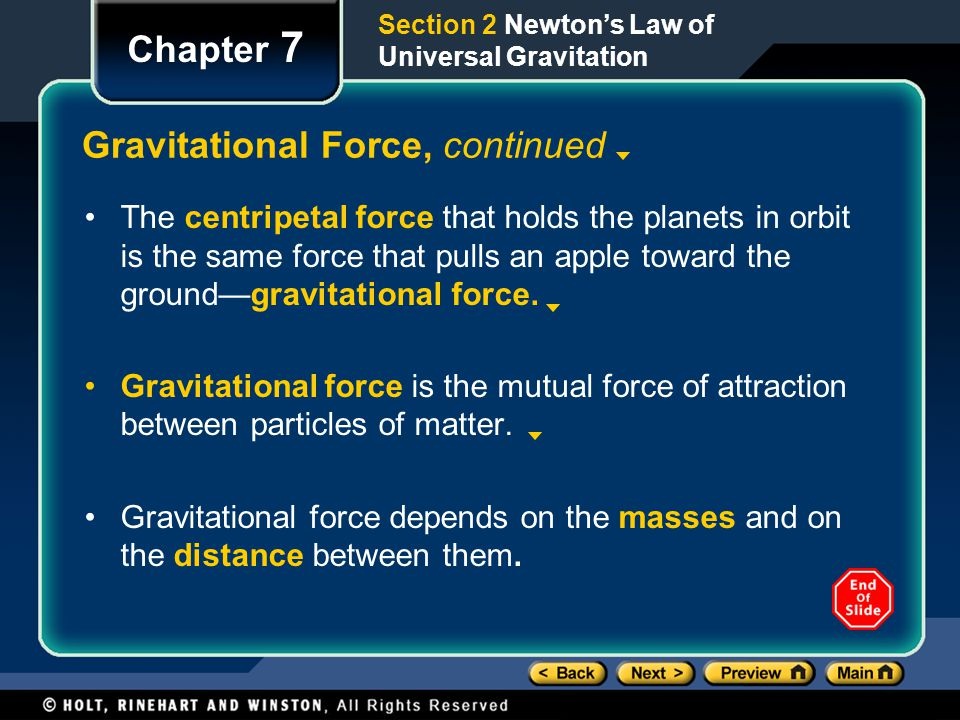 Gravitational Force, continued