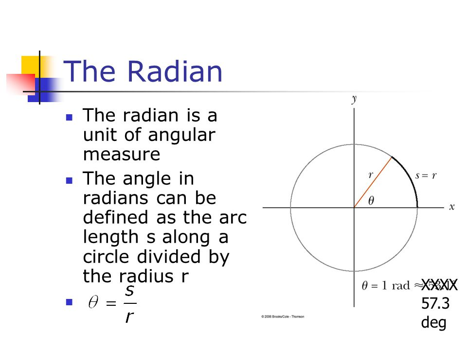 The Radian The radian is a unit of angular measure