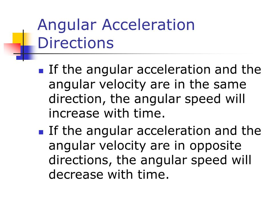 Angular Acceleration Directions