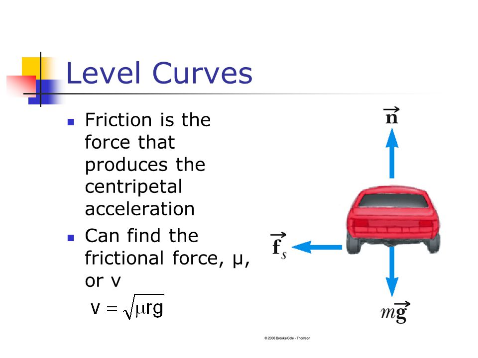 Level Curves Friction is the force that produces the centripetal acceleration.