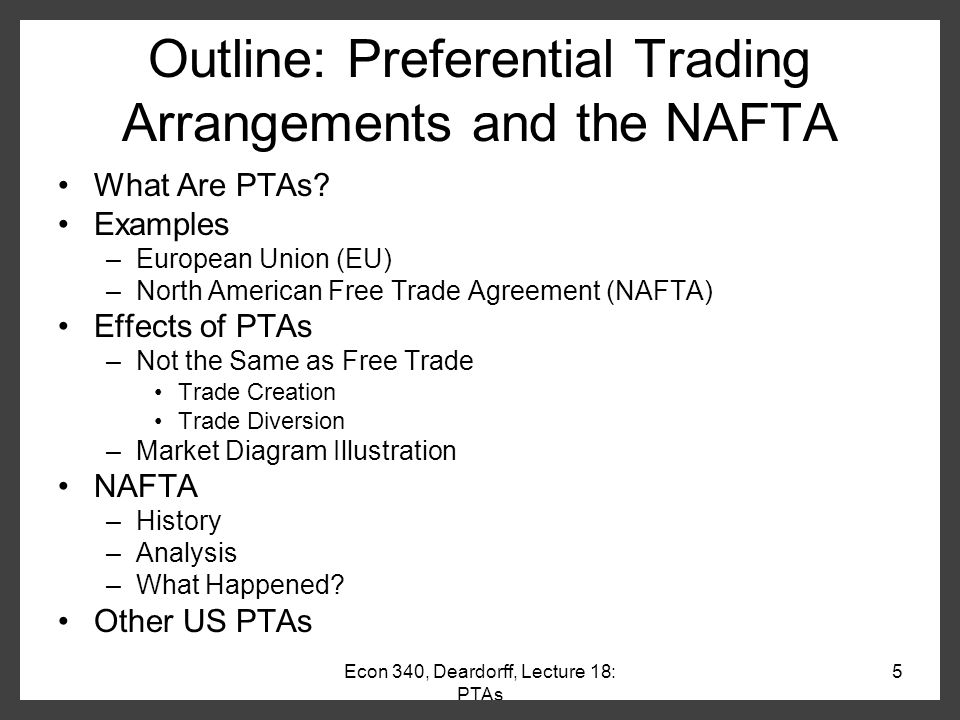 Preferential Trade Agreement Example