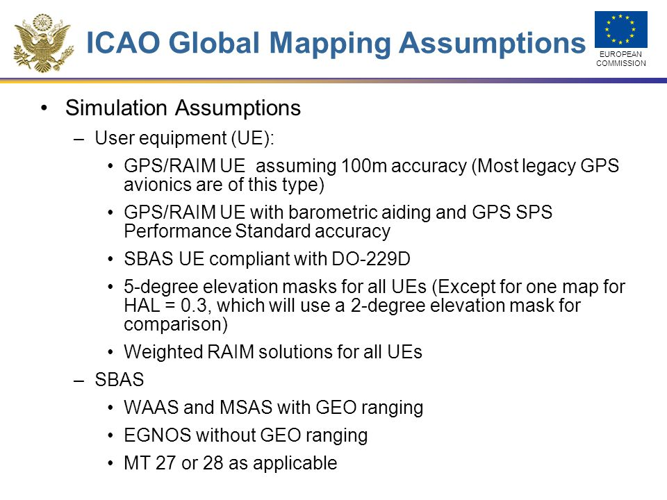 ICAO Global Mapping Assumptions