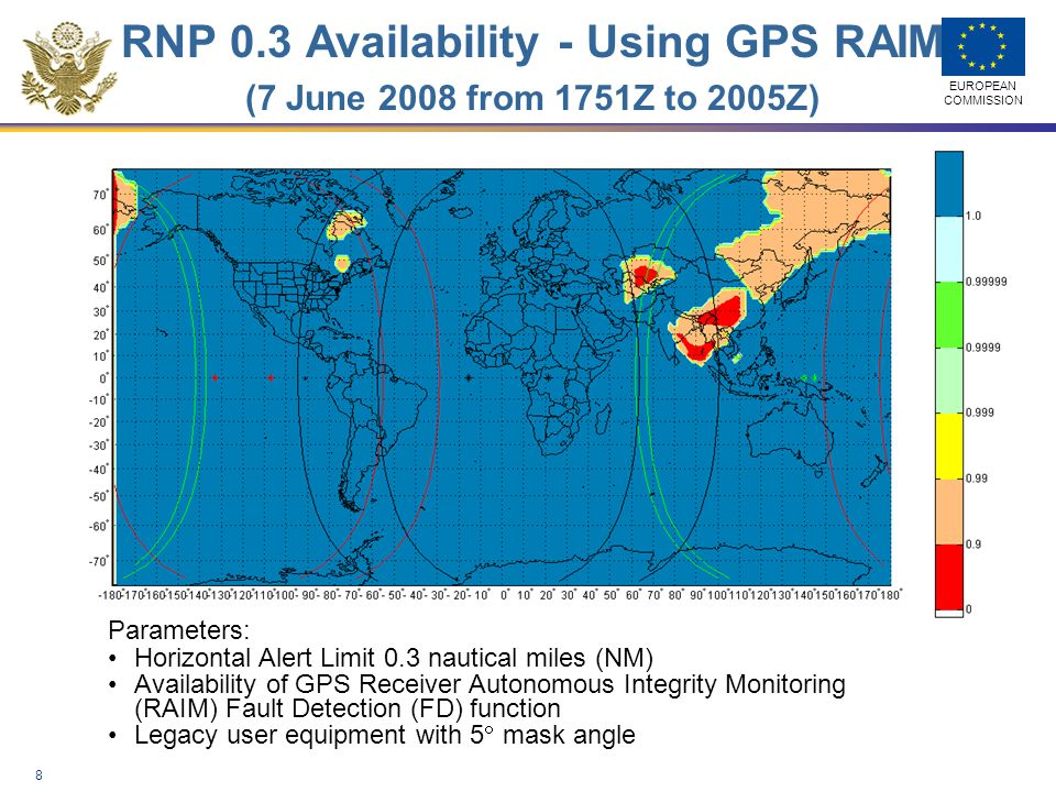 RNP 0.3 Availability - Using GPS RAIM (7 June 2008 from 1751Z to 2005Z)