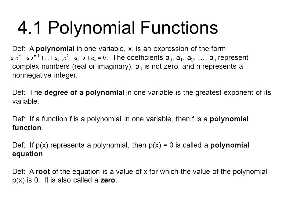 Chapter 4 Polynomials And Rational Functions Ppt Video Online