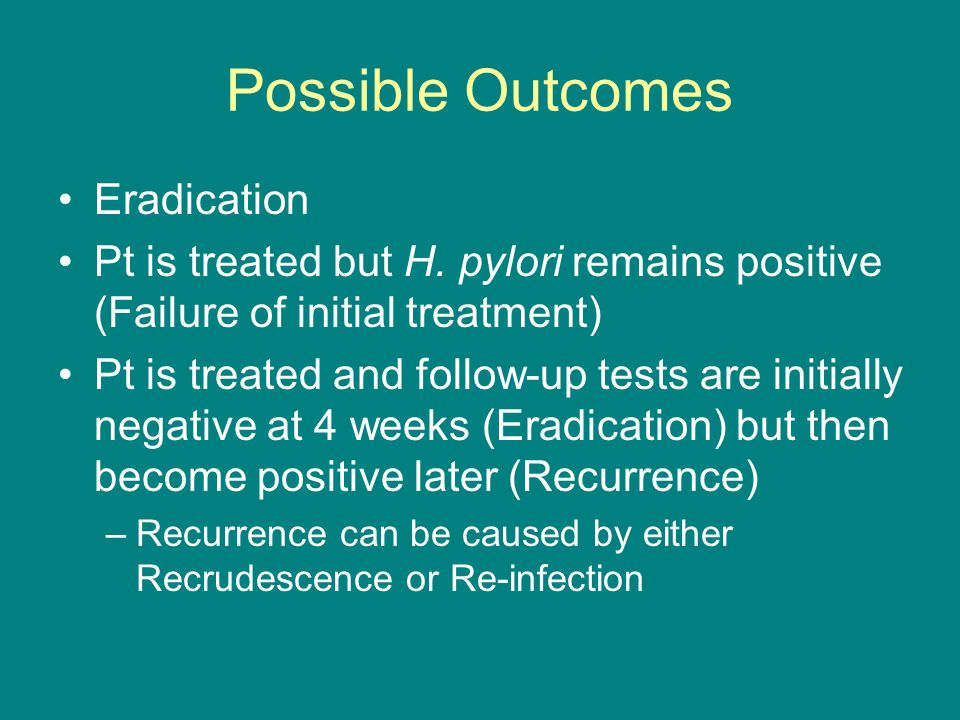 Possible Outcomes Eradication