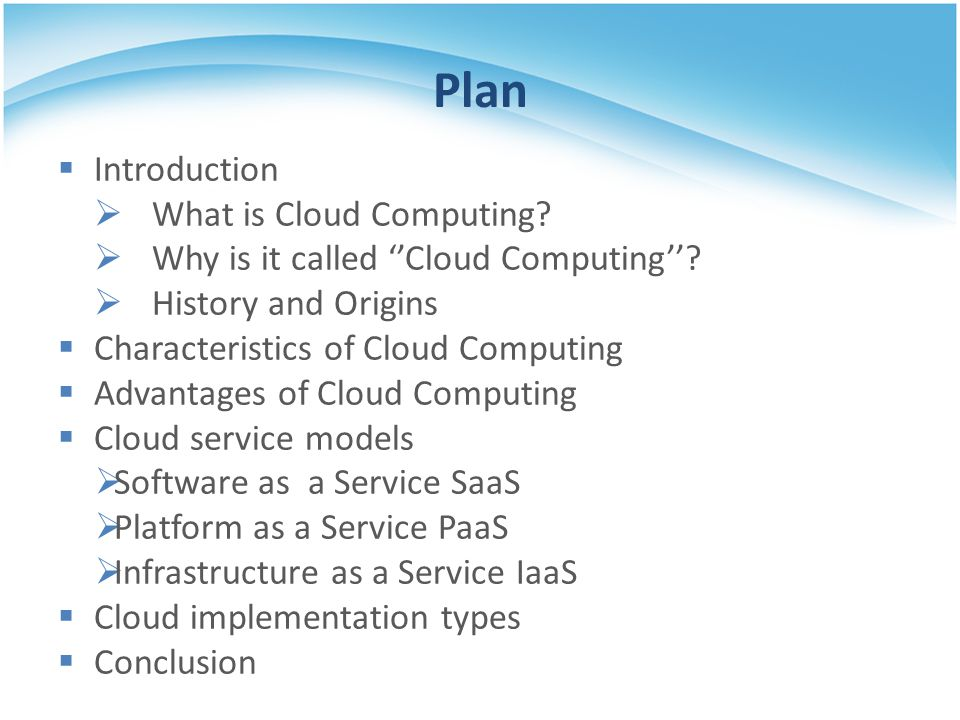 Plan Introduction What is Cloud Computing
